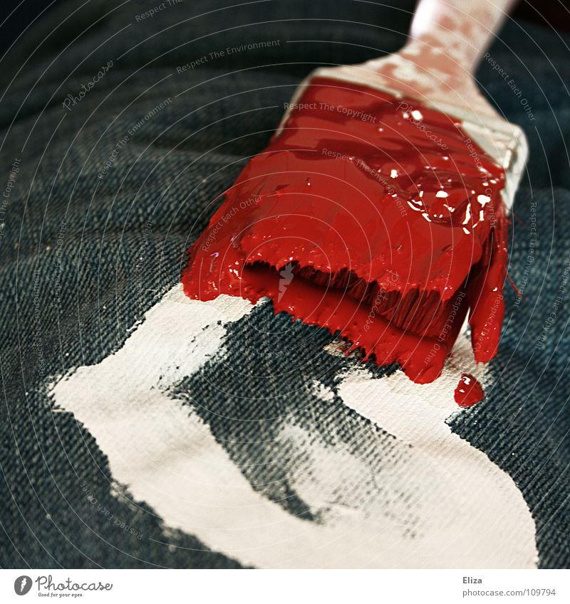 White painted heart on jeans is painted with a brush in red color. change. renewal. Heart Paintbrush Red Colour Relations freshen Emotions Love striking Denim