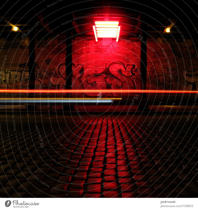 Space alignment in the tunnel Tunnel Wall (building) Transport Traffic infrastructure Street Graffiti Illuminate conceit Speed Red Art Timeless