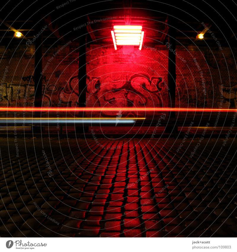 Space alignment in the tunnel Tunnel Wall (building) Traffic infrastructure Street Graffiti Illuminate Dark Speed Red Art Lighting installation Column