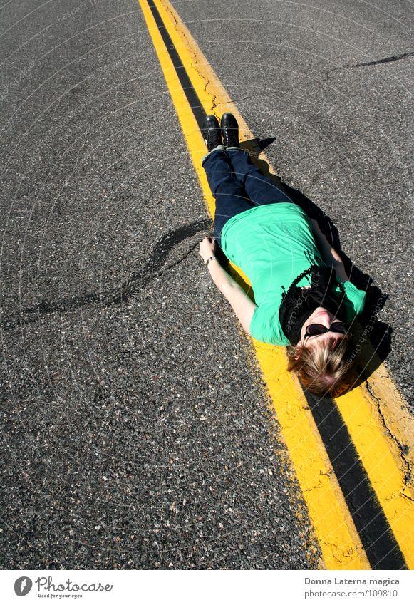 online Online Line Thin Long Yellow Traffic lane Suicidal tendancy Woman Green Flat Asphalt Americas National Park California Ranger Vacation & Travel To enjoy