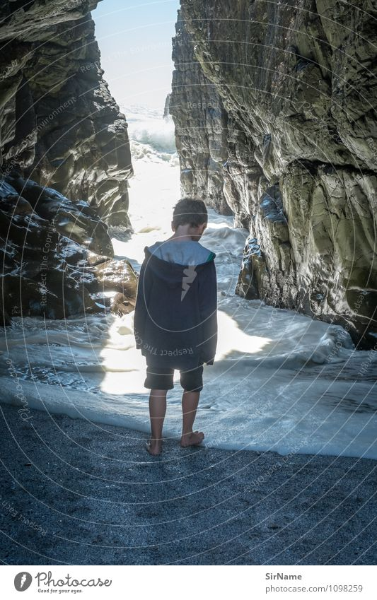 Child Nature Vacation & Travel Water Sun Ocean Beach Far-off places Life Coast Boy (child) Freedom Going Rock Glittering Infancy