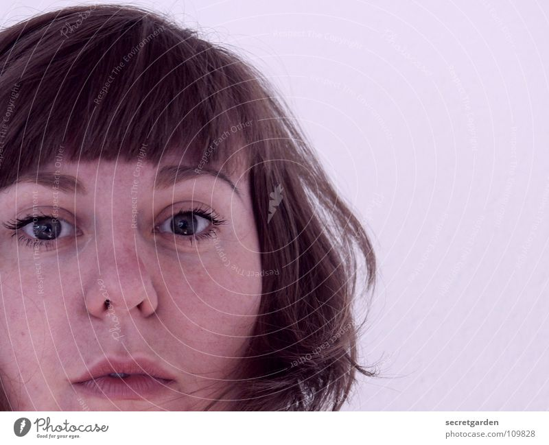 violet IV Woman Violet Lilac Portrait photograph Self portrait Short haircut Think Wall (building) White Human being Amazed Hatch Hair and hairstyles Eyes Mouth