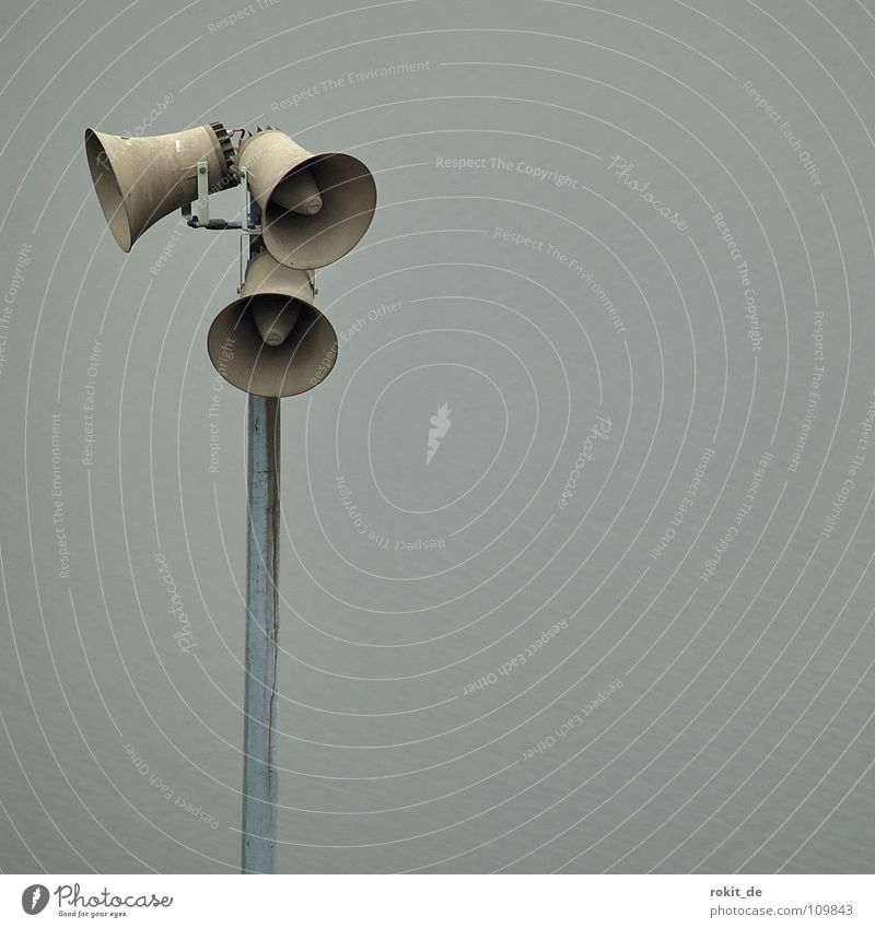 Calm Gray Industry Communicate Scream Listening Loudspeaker Speech Electricity pylon Sound Warning label Warning sign 123