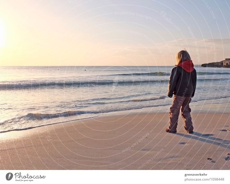 distant view Ocean Child 1 Human being 3 - 8 years Infancy Sunrise Sunset Mediterranean sea Coast Beach Stand Far-off places Wanderlust Loneliness sea noise