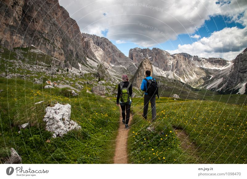 that's good Fitness Life Hiking Vacation & Travel Tourism Adventure Freedom Summer Summer vacation Mountain 2 Human being Nature Landscape Plant Sky Clouds