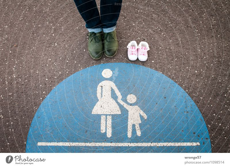 1 1/2 loner Human being Feminine Woman Adults Legs Feet 45 - 60 years Traffic infrastructure Pedestrian Lanes & trails Footpath Sign Signs and labeling