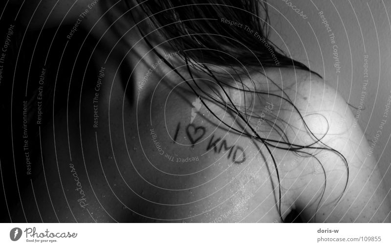 i love kmd Love Shoulder Wet Black White Gray Woman Feminine Collarbone Low neckline Freckles Dark Black & white photo Hair and hairstyles Heart KMD Water
