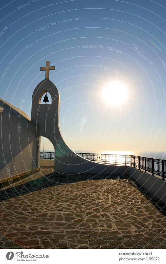 Sky Sun Ocean Vacation & Travel Calm Relaxation Warmth Lake Religion and faith Back Cobblestones Handrail Greece Paving stone Blue sky Bell