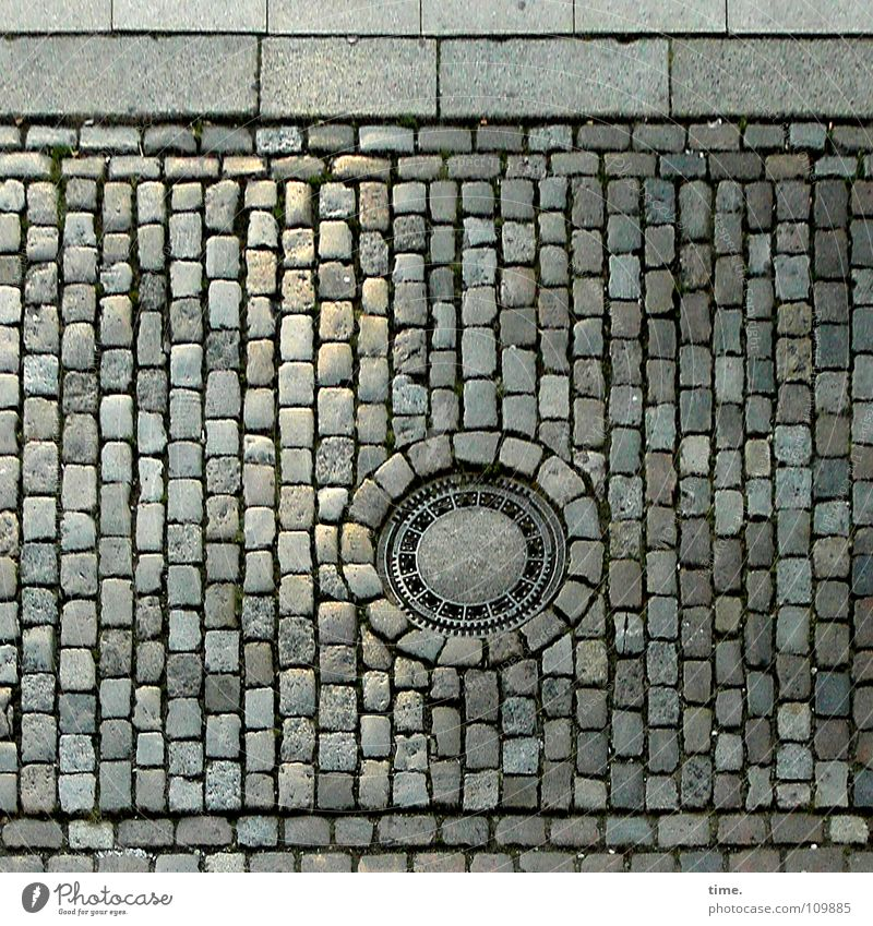 Red Street Gray Stone Metal Concrete Communicate Round Tile Traffic infrastructure Cobblestones Iron Gully Sharp-edged Minerals Attach