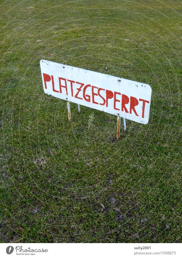 Old Green Red Meadow Sports Playing Signs and labeling Characters Closed Signage Soccer Fitness Break Athletic Grass surface Barrier