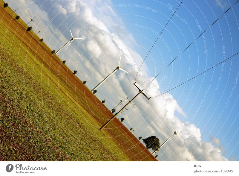 Nature Sky White Tree Green Blue Clouds Colour Meadow Brown Power Field Wind Food Perspective Industry