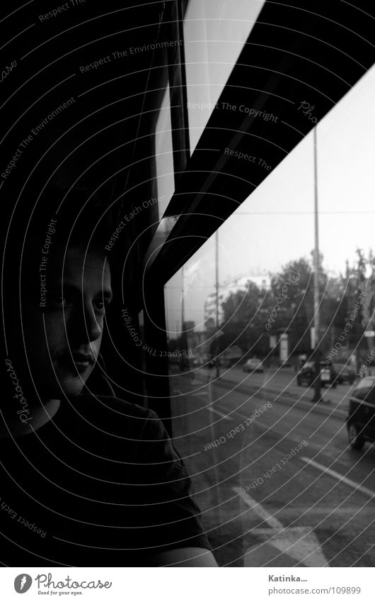 wanderlust Portrait photograph Man Driving Dark Loneliness Thought Emotions Black & white photo Bus Face Human being Street Shadow Sadness Car Window 1 Person