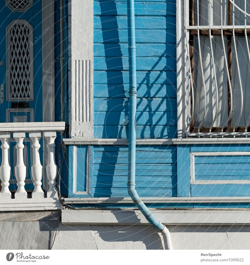 Blue White House (Residential Structure) Window Dye Building Facade Fresh Happiness Esthetic Friendliness Historic Manmade structures Balcony Old town Istanbul