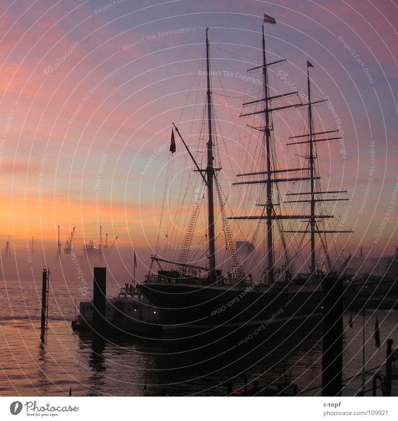 Sky Water Ocean Watercraft Hamburg Romance Harbour Electricity pylon Crane Sailing ship Rickmer Rickmers