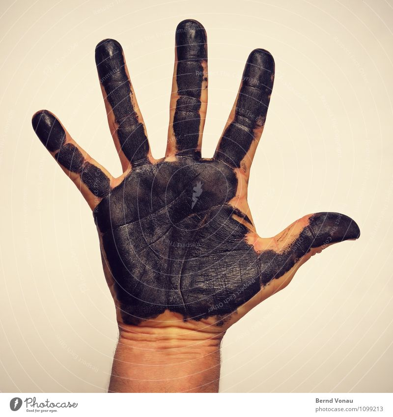 moonlighting Human being Masculine Hand Fingers Brown Yellow Black Dirty Ink Work and employment Uphold Salutation Skin Covered Creativity Imprint