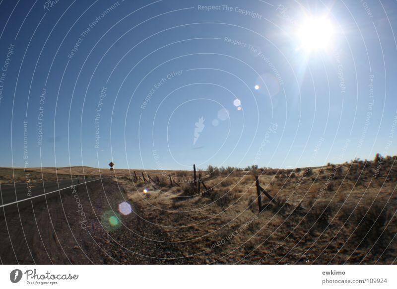 Blue Sun Loneliness Street Freedom Mountain Grass Wood Warmth Bushes USA Desert Physics Asphalt Infinity Hot
