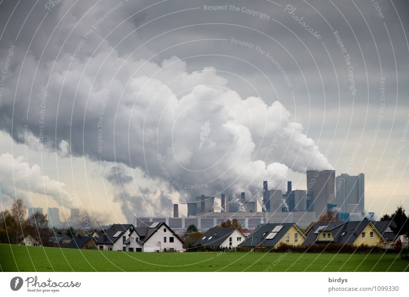 Lignite-fired power plant directly behind a residential area Energy industry Coal power station co2 Climate change Meadow Germany Village