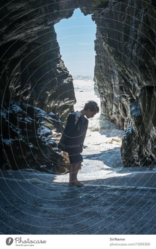 Human being Child Nature Vacation & Travel Summer Sun Ocean Landscape Life Coast Boy (child) Freedom Moody Rock Dream Waves