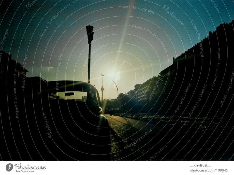 Sky Sun Berlin Moody Germany Lantern Sidewalk Traffic infrastructure Beetle Berlin TV Tower Monochrome Frankfurter Allee