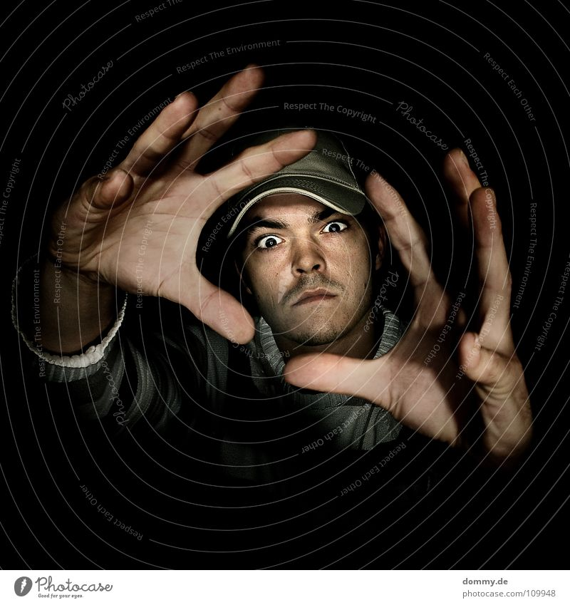 Man Hand Black Eyes Dark Large Skin Nose Fingers Might Stripe Lips Hat Anger Cap Facial hair