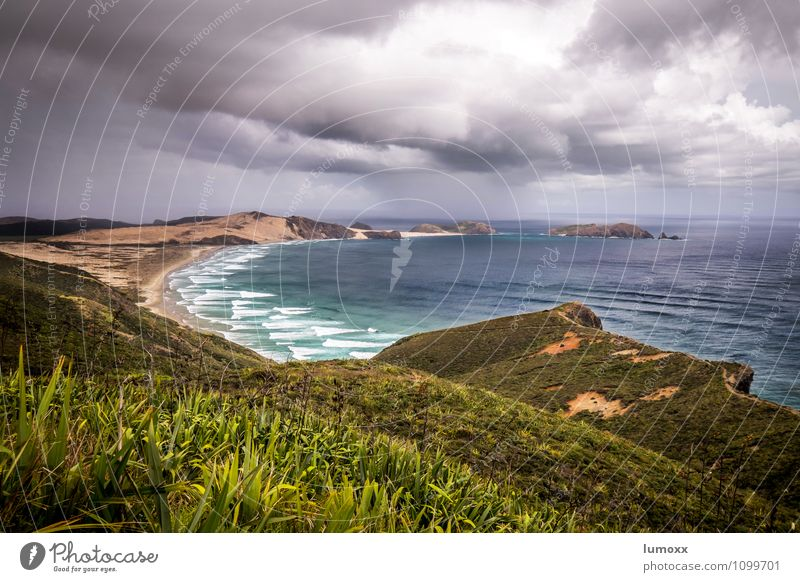 cape reinga Nature Landscape Elements Sand Water Storm clouds Bad weather Gale Coast Beach Bay Ocean Tasman sea Island New Zealand Romp Infinity Blue Yellow