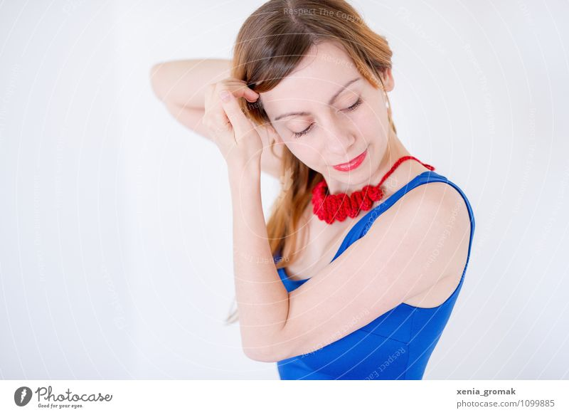 Human being Youth (Young adults) Blue Beautiful Young woman Relaxation Red Calm Joy 18 - 30 years Adults Face Life Feminine Style Healthy