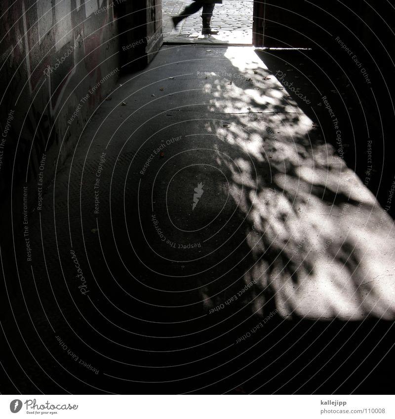 walking on broken glass Way out Entrance Sidewalk Pedestrian Black To go for a walk Back-light East Novel Detective novel Criminality Assassin Crime scene
