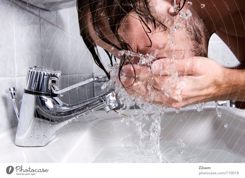Human being Man Hand Face Movement Hair and hairstyles Head Arm Drops of water Wet Fresh Drinking water Bathroom Clean Tile Morning