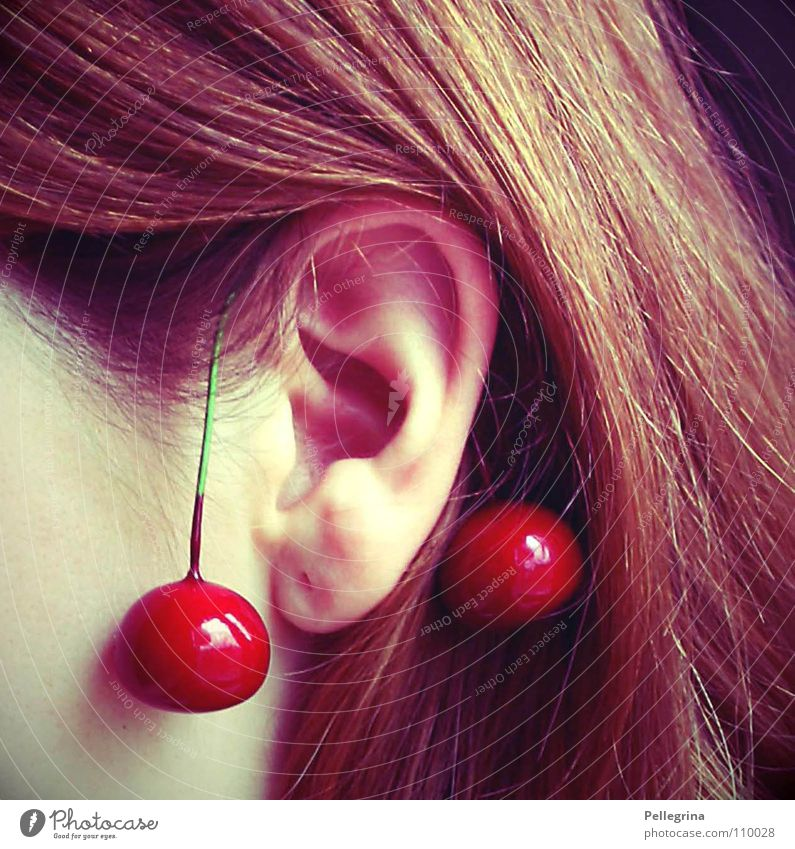 chriesi Cherry Red Juicy Dangle Hang Round Brown Woman Fruit Ear Hair and hairstyles Twig Stalk