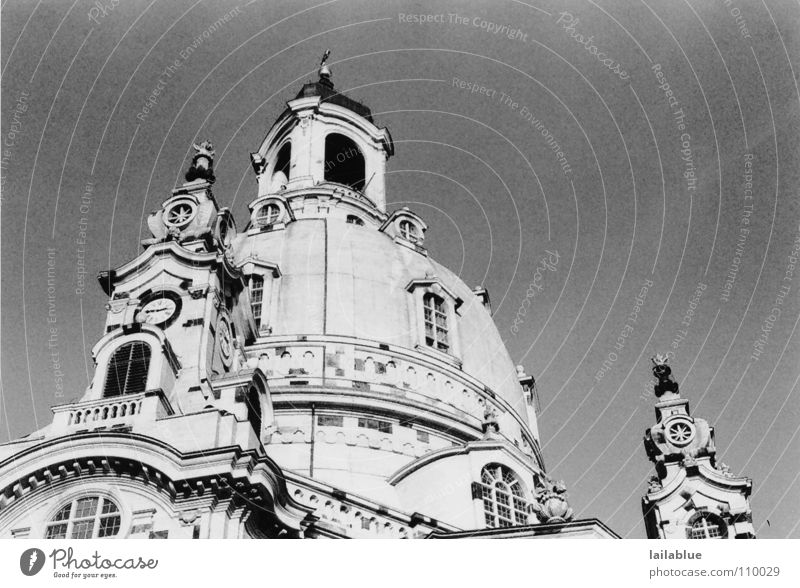 the church of our dear lady Black & white photo Exterior shot Structures and shapes Deserted Neutral Background Worm's-eye view Upward Cloudless sky Dresden
