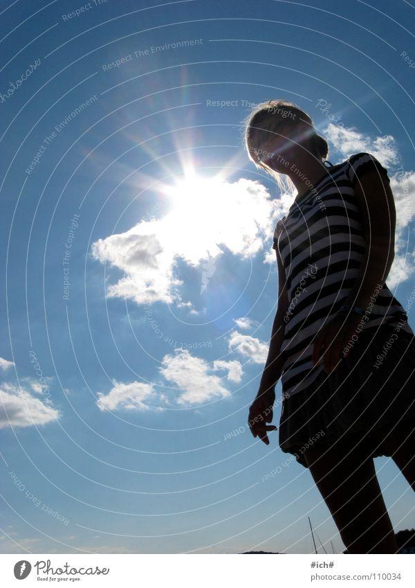 Woman Beautiful Sky Sun Blue Clouds Far-off places Stripe Clothing Croatia Mini skirt