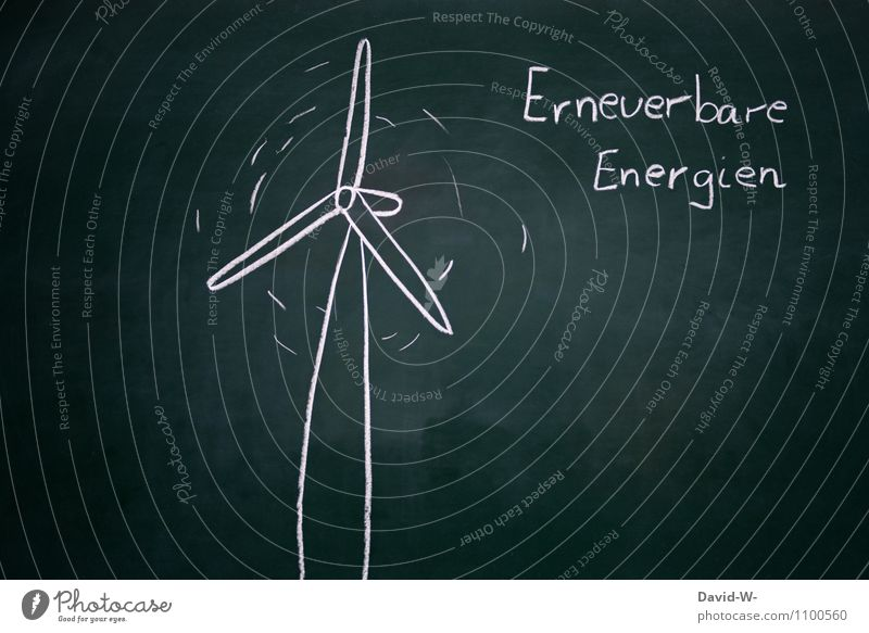 Renewable Energies Save Science & Research Blackboard Economy Industry Energy industry Success Technology Advancement Future Renewable energy Wind energy plant