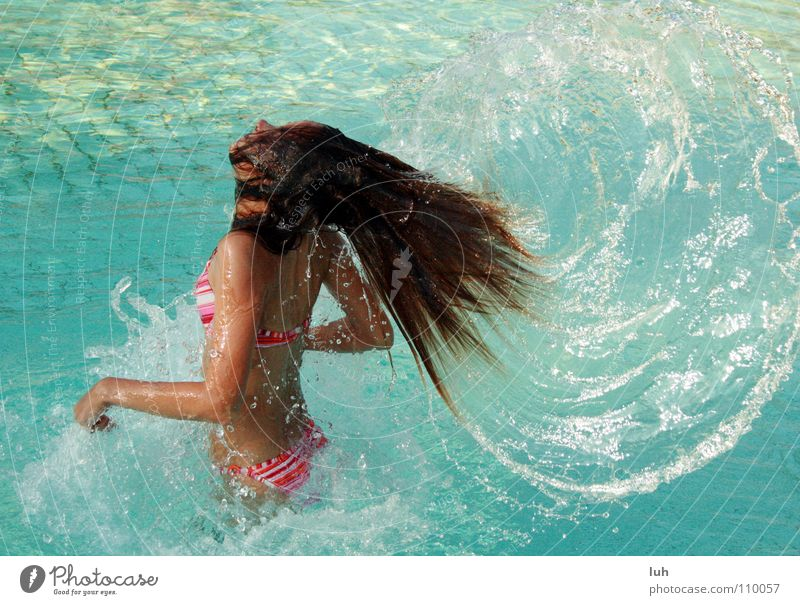 Youth (Young adults) Blue Water Beautiful Summer Warmth Hair and hairstyles Happy Brown Drops of water Action Wing Swimming pool Thin Physics Hot