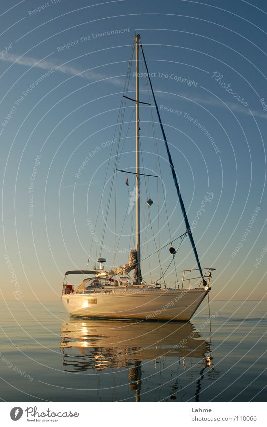 at anchor Sailing Ocean Watercraft Anchor Reflection Ijsselmeer Navigation Vapor trail Mirror Aquatics Sailboat sea of markers Sky slack