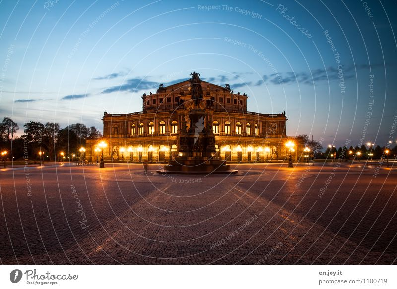 Vacation & Travel City Building Germany Illuminate Tourism Trip Places Culture Historic Manmade structures Monument Landmark Tourist Attraction Dresden Theatre