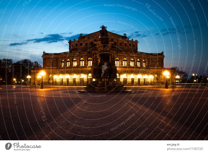 frontal Vacation & Travel Tourism Sightseeing City trip Theatre Opera house Sky Night sky Dresden Saxony Germany Europe Town Capital city Manmade structures