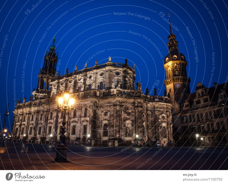 court church Vacation & Travel Tourism Trip Sightseeing City trip Sculpture Environment Cloudless sky Night sky Dresden Saxony Germany Town Capital city Church