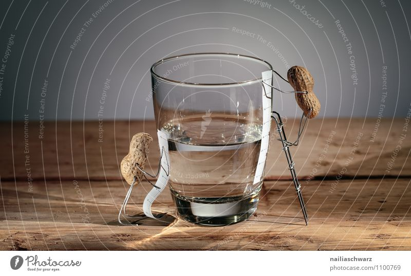 Half full - half empty? Friendship 2 Human being Glass Ladder Tape measure Wood Water Observe Communicate Looking Stand Simple Happiness Curiosity Cute Original