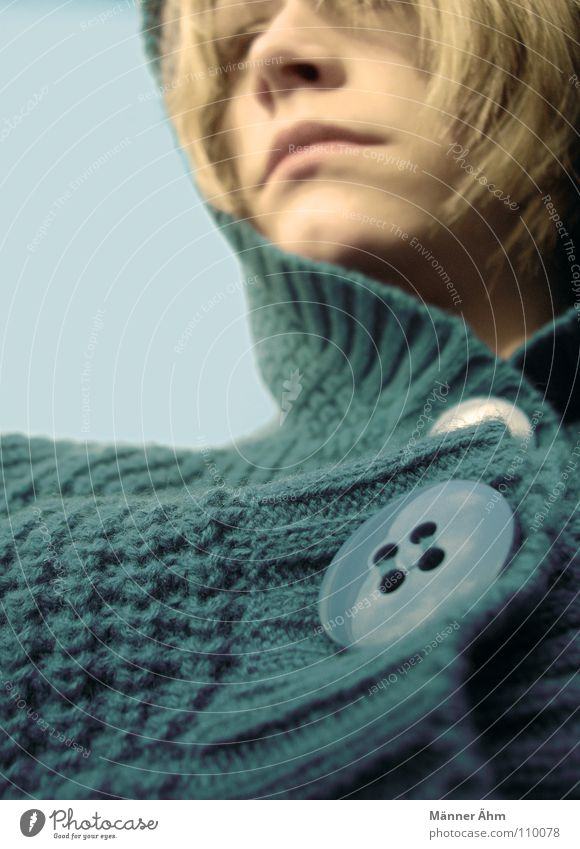 Rope chic. Buttons Sweater Wool Turquoise Clothing Winter Autumn Hooded (clothing) Woman Retro Chic Blonde Green Freeze Far-off places Head Hair and hairstyles