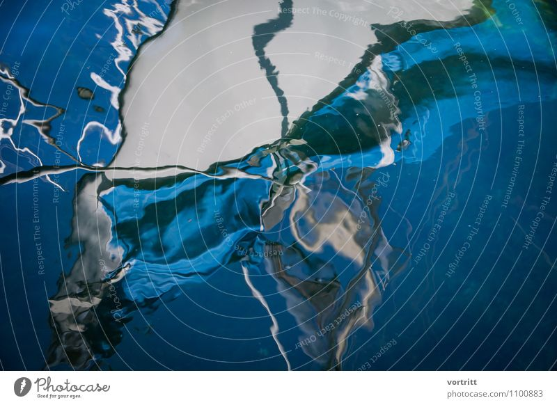 Submerged Environment Nature Elements Water Yacht Sailboat Harbour Anchor Rope Blue Bizarre Distorted Mirror image Bow Surrealism Colour photo Subdued colour