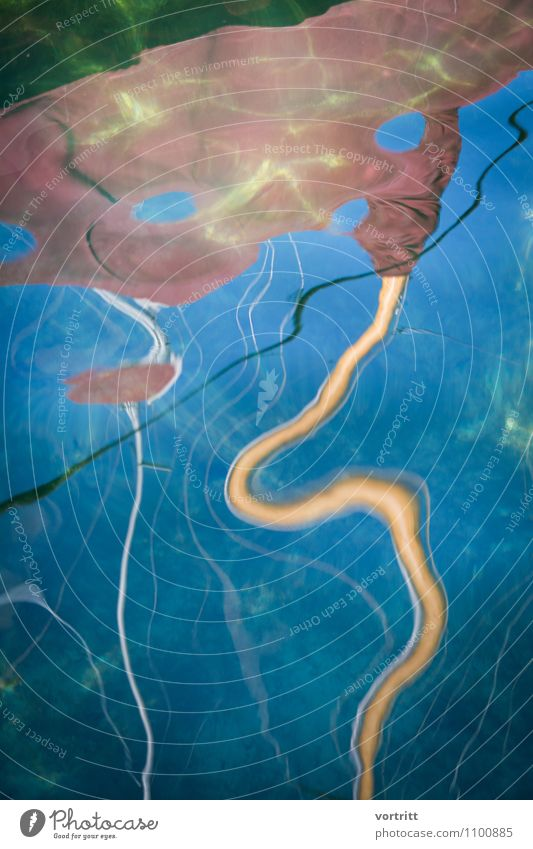 snake Painting and drawing (object) Environment Nature Elements Water Movement Cold Blue Brown Yellow Esthetic Bizarre Lake Sailing ship Mast Sky blue Distorted