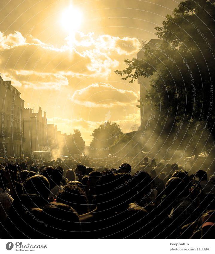 Human being Sun Summer Joy Street Warmth Physics Smoke Crowd of people Seasons Notting Hill