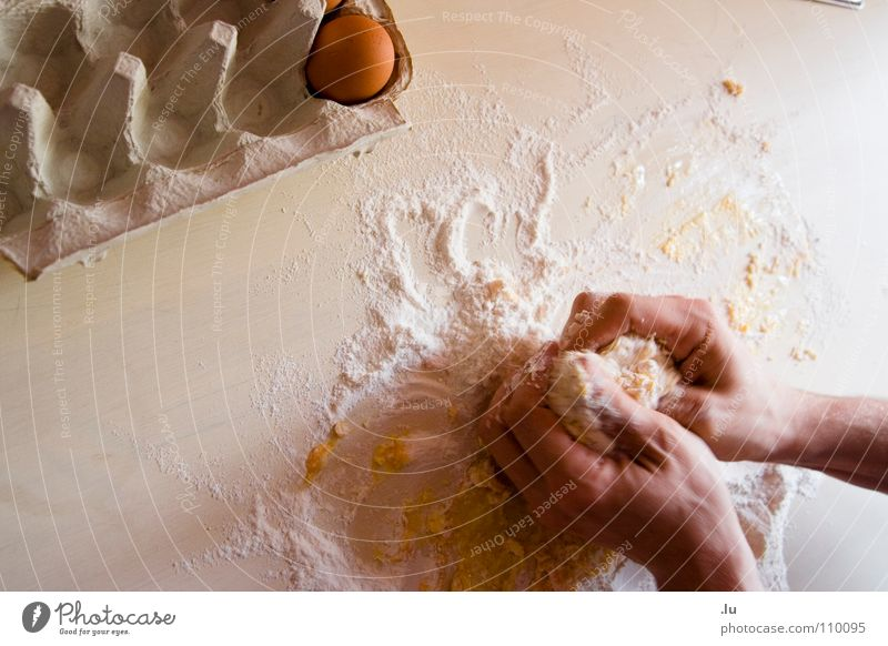 Baking Colour photo Close-up Detail Copy Space left Copy Space top Neutral Background Bird's-eye view Food Dough Baked goods Cake Flour knead Mix Nutrition