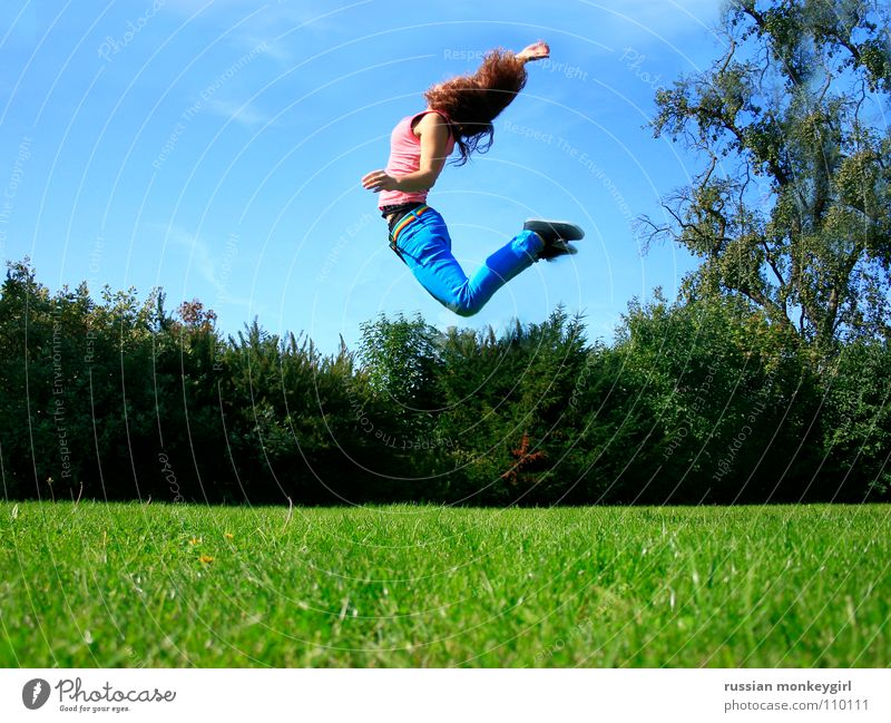 Human being Youth (Young adults) Sky Tree Blue Summer Joy Leaf Clouds Far-off places Life Meadow Emotions Jump Grass Happy