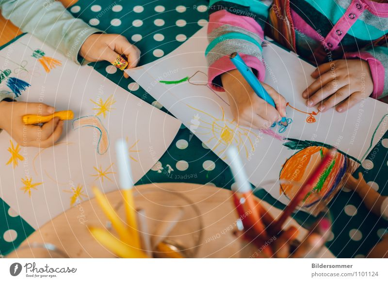Human being Child Blue Green Hand Joy Yellow Playing Leisure and hobbies Infancy Arm Creativity Study Academic studies Painting (action, artwork) Education