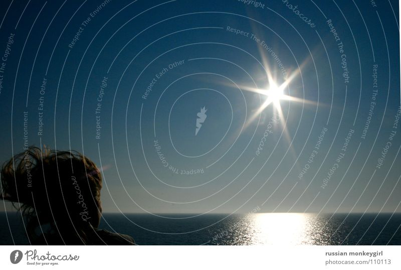 Blue Water White Sun Vacation & Travel Ocean Summer Cold Gray Head Hair and hairstyles Watercraft Horizon Wind Italy To enjoy