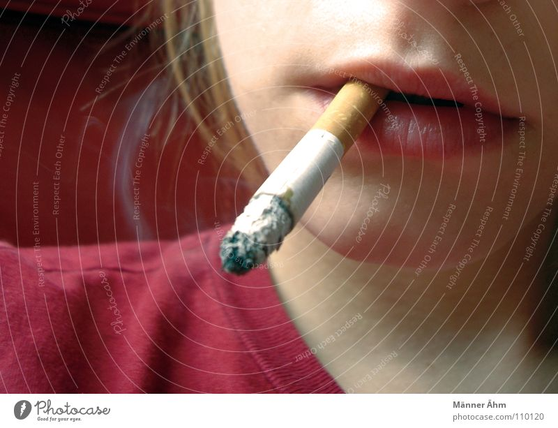 Woman Youth (Young adults) Dangerous Young woman Smoking Lips Illness Warning label Smoke Burn Cigarette Anonymous Partially visible Danger of Life Embers