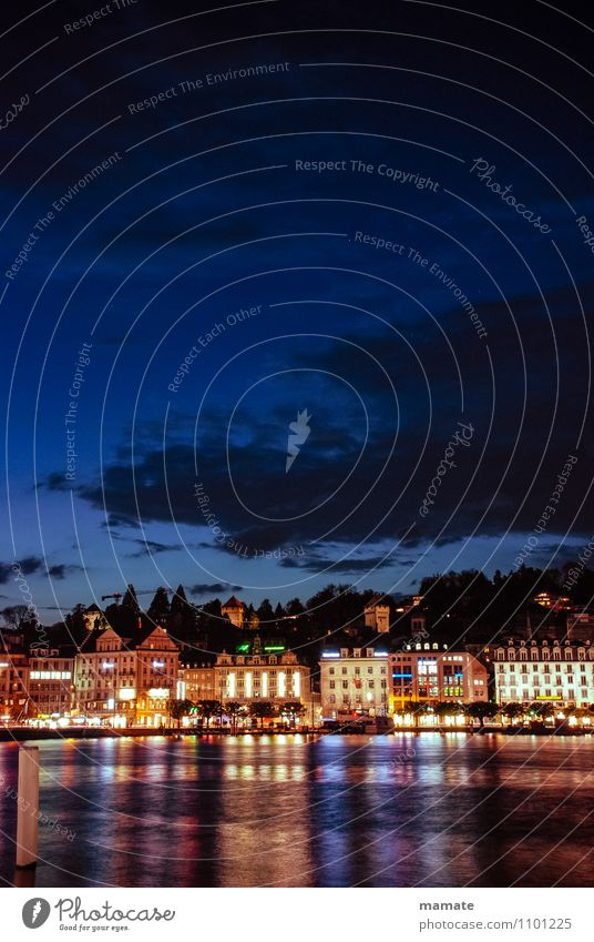 Lucerne by night Vacation & Travel City trip Summer Town Blue cityscape destinations Europe illuminated landmark place scene sight Lake Lucerne view Switzerland