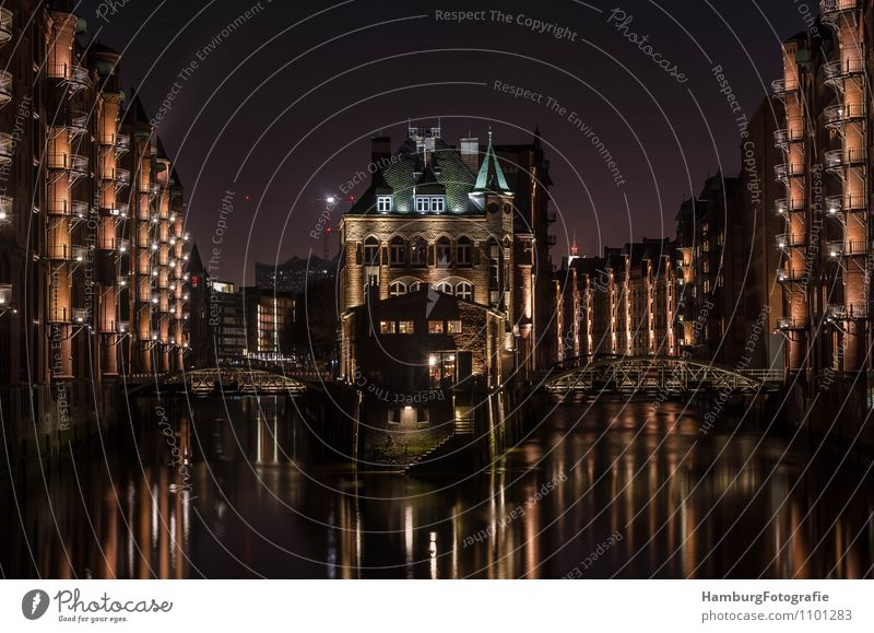 "Fleet Castle Hamburg/Speicherstadt Port City Old town Deserted Bridge Manmade structures Tourist Attraction Symmetry ""Hamburg,"" storehouse city Subdued colour"
