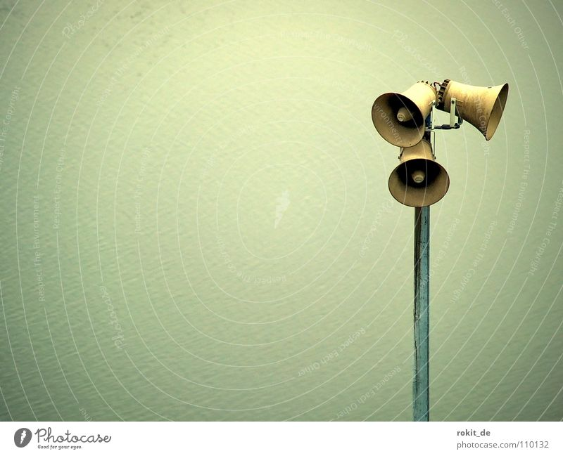 Attention announcement: PARTYALARM!!!!! Loud Calm Loudspeaker Speech Sound Gray Listening Scream Invitation Moody Clang To talk Deep Vignetting Joy